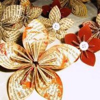 9 Handmade Upcycled Origami Paper Flowers with Fall by danamazing