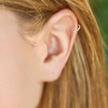 Tiny Seamless Hoop Cartilage Earring Silver or Yellow by wirewrap