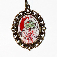 Santa Zombie Christmas Pendant Necklace