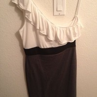 Rhapsody White Black & Gray One Shoulder Ruffle Dress Size XLarge