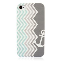 Bohemian Wave Stripes Navy Anchor Print Mint Blue Gradient Gray Case for iPhone 4 /4S