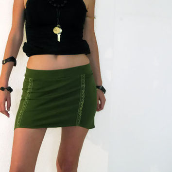SALE Green mini skirt, yoga mini skirt