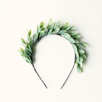 Leafy green headband, Grecian-inspired goddess head piece, green leaf crown - APHRODITE