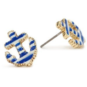 Betsey Johnson &quot;Spectator&quot; Striped Anchor Stud Earrings