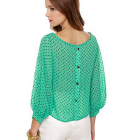 Cute Mint Green Top - Polka Dot Top - $35.00
