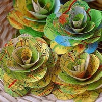 Vintage Maps Paper Roses | AccentsandPetals - Wedding on ArtFire