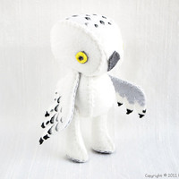 Ophelia the Snowy Owl Wool Felt Plush Art Doll by nonesuchgarden