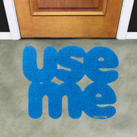 "Doormat ""use me"". Original floor mat. Welcome door mat"