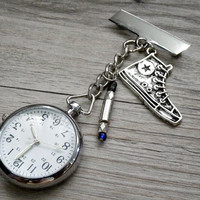 pocket watch with blue sonic screwdriver & Converse Chuck Taylor All Star sneakers brooch pin