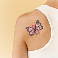 Tattoo Design - Breast Cancer Butterfly