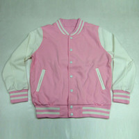 baseball jacket Pink color letterman uniform Korea high quality varsity college