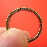 SALE - Love You Forever Etched Band with Rhinestone Ring - Size 6 to 8
