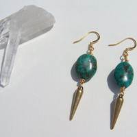 Small Turquoise &amp; Brass Spike Earrings on Etsy