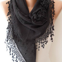 Autumn Scarf - Black Scarf with Rose - Knit Tricot Fabric  Scarf with Trim Edge