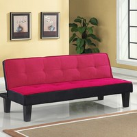 A.M.B. Furniture & Design :: Bedroom furniture :: Futon beds :: Hamar pink microfiber fabric upholstered small space apartment size adjustable sofa futon bed with dark finish legs