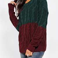 Urban Outfitters - Coincidence & Chance Colorblock Cable Sweater