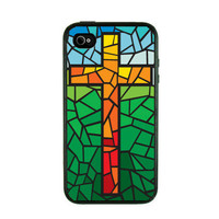 Iphone 4 Case  Cross on Glass Iphone Case by fundakiphonecases