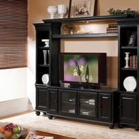 A.M.B. Furniture & Design :: Living room furniture :: Entertainment centers :: 4 pc Ferla black finish wood slim profile entertainment center wall unit with TV stand and side towers