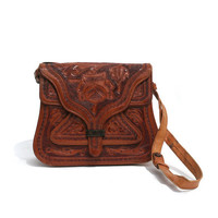 vintage hand tooled leather shoulder bag by myfavoritevintage
