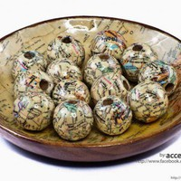 Wood Beads Decoupaged with Vintage Maps - 30mm Large beads | AccentsandPetals - Woodworking on ArtFire