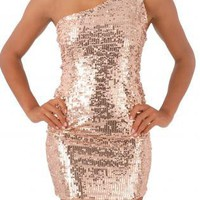 Pink Cocktail Dress - Designer Pink Rose Sequin Sequin | UsTrendy