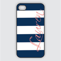 iPhone 5 Case  Navy Stripes with Coral Name - iPhone 5 Case, iPhone 5 Cover IPHONE 5 (iM5066)