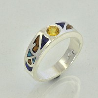 Silver Band with Yellow Sapphire Center Stone and Mosaic Inlay | JewelerJim - Jewelry on ArtFire