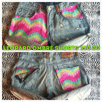 Leopard ombré shorts.  by AngeliqueMerici on Etsy