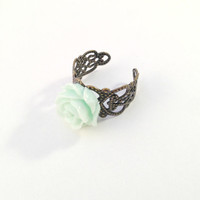 Romantic Mint Rose Ring, Nature Inspired Ring, Vintage Style Mint Green Rose Ajustable Brass Ring, Brass Filigree Ring
