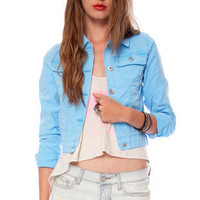 Colored Denim Jacket in Blue :: tobi
