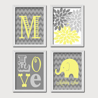 Monogram Child Name Yellow Gray Grey Elephant Chevron Flower LOVE Child Nursery Print Artwork Set of 4 Prints Girl WALL Decor ART Picture