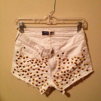 White Denim Shorts Studded