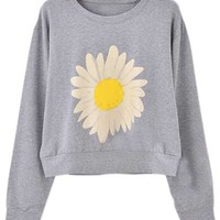 ROMWE | Daisy Print Grey Pullover, The Latest Street Fashion
