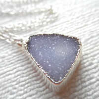 Periwinkle Druzy necklace silver necklace by laurenhandlerdesigns