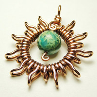 Sun blue serpentine pendant - wrapped in copper wire - handmade by keoops8