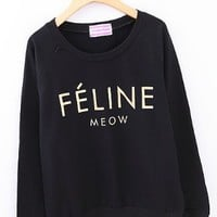 Letter FELINE Casual Sweatshirt for Girls