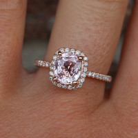 2ct Cushion peach champagne sapphire 14k rose gold diamond ring engagement ring