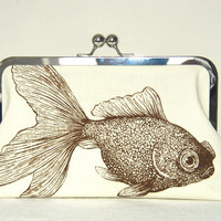Clutch Purse Bag Goldfish Turtle Kisslock by kyooziAccessories