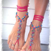 HAWAII wedding BAREFOOT SANDALS Hot Pink Flowers crochet Sandals foot jewelry Hippie Flower anklet Beach Wedding Fleur de lis foot thong
