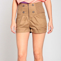 High Waisted Stretch Band Shorts in Tan