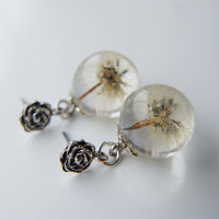 Real Dandelion Orb Earrings Resin Ball Make a Wish Seeds Real Flower Eco Globe Dandelion Clock Specimen Blow Ball