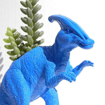 Dinosaur Planter True Blue for Succulent Plants by crazycouture
