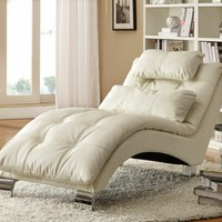 A.M.B. Furniture & Design :: Living room furniture :: Sofas and Sets :: Chaise loungers :: White leather like vinyl upholstered tufted design chaise lounger with chrome legs