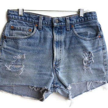 Levi High Waisted Denim Shorts Tumblr Hipster Size 11/12