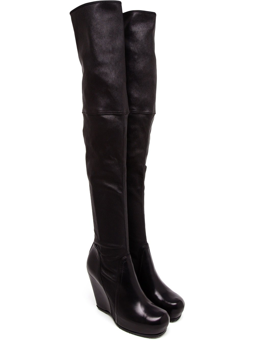 rick owens leather thigh high wedge boots from farfetch