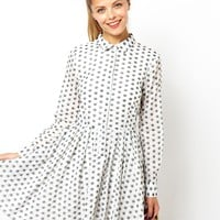ASOS Shirt Dress In Jacquard Spot at asos.com