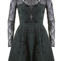 LOVE Green Brocade Skater Dress With Lace Top