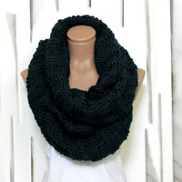 Wrapped Up,Woman Scarves,Winter scarves, Knitted Accessory, Black scarf. Loop Scarf, Circle Scarf, Chunky, Cowl, Knit Scarves