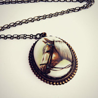 large horse cameo necklace, horse pendant, unique necklace, statement necklace, kitsch necklace