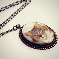 large cat cameo necklace, large cat pendant, unique necklace, statement necklace, kitsch necklace